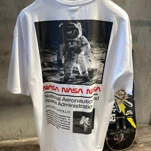 NASA OVERSİZE SIRT BASKILI BEYAZ T-SHİRT